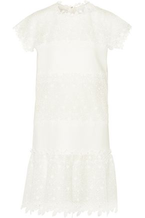 GIAMBATTISTA VALLI Ruffled guipure lace-paneled crepe mini dress