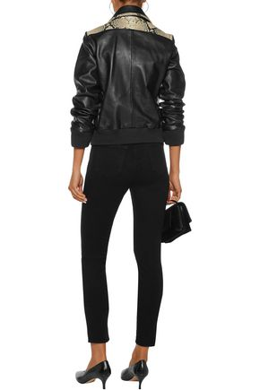 JUST CAVALLI Paneled smooth and python-effect leather jacket