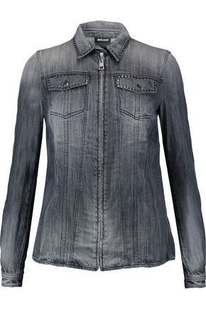 JUST CAVALLI Stud-embellished denim shirt