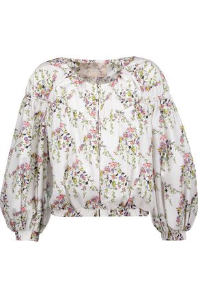 WOMAN CROPPED GATHERED FLORAL-PRINT SHELL JACKET MULTICOLOR