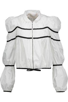 GIAMBATTISTA VALLI Cropped grosgrain-trimmed gathered shell jacket