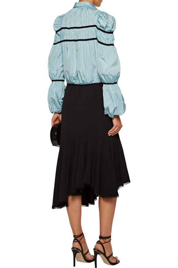 Cropped grosgrain-trimmed gathered shell jacket | GIAMBATTISTA VALLI | Sale  up to 70% off | THE OUTNET