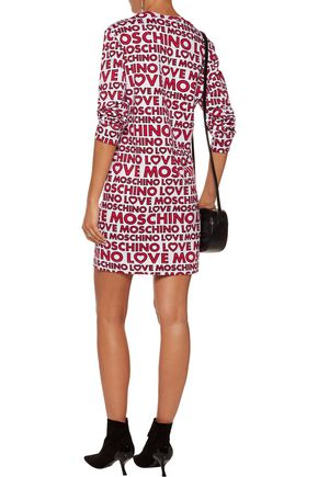 LOVE MOSCHINO Printed stretch-cotton terry mini dress