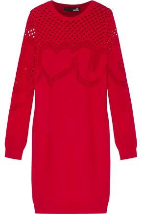 LOVE MOSCHINO Open knit-paneled stretch-knit dress