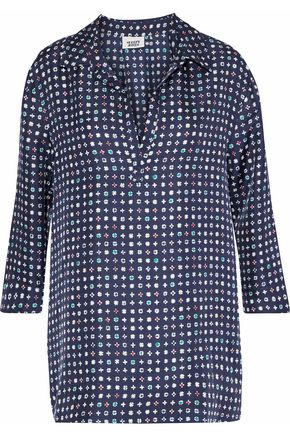 SLEEPY JONES Printed silk pajama top