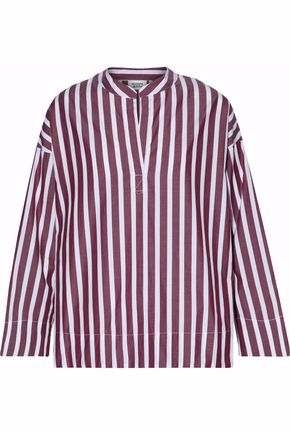 SLEEPY JONES Striped cotton-poplin pajama top