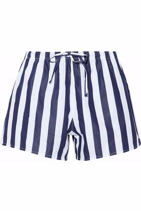 SLEEPY JONES Striped cotton pajama shorts