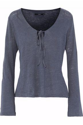 J BRAND Tie-front slub linen top