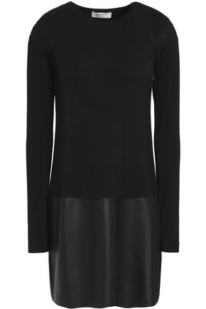BAILEY 44 Faux leather-paneled jersey mini dress