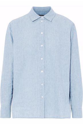 J BRAND Striped linen and cotton-blend chambray shirt