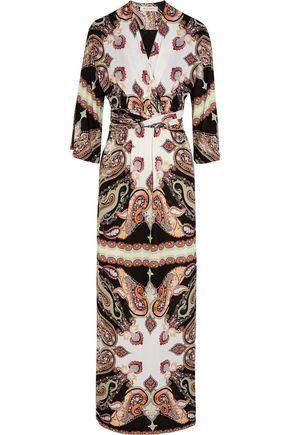 ETRO Printed wrap-effect crepe maxi dress