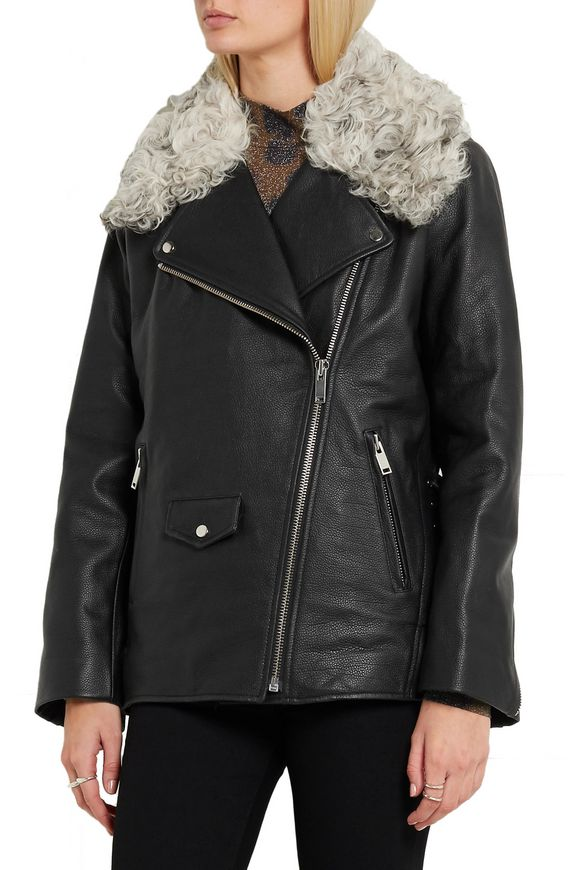 Swinton shearling-trimmed textured-leather biker jacket | TOPSHOP UNIQUE | Sale  up to 70% off | THE OUTNET