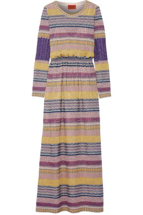 MISSONI Striped metallic crochet-knit maxi dress