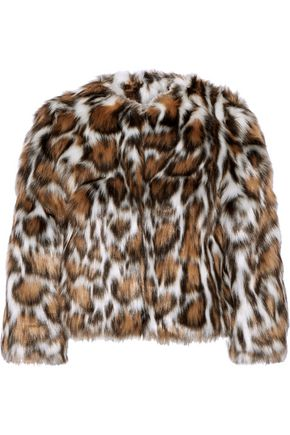 MOSCHINO Cropped leopard-print faux fur coat
