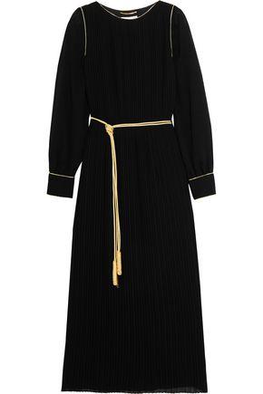SAINT LAURENT Pleated crepe midi dress