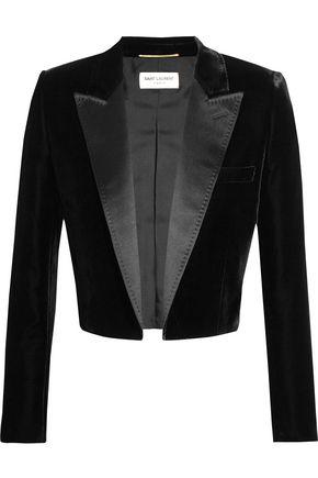 SAINT LAURENT Cropped satin-trimmed velvet blazer
