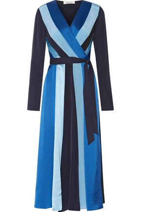 DIANE VON FURSTENBERG Penelope striped silk-blend satin and textured-satin wrap dress