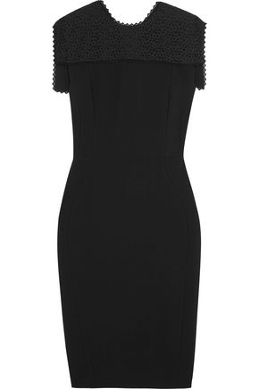 ANTONIO BERARDI Broderie anglaise-trimmed crepe dress