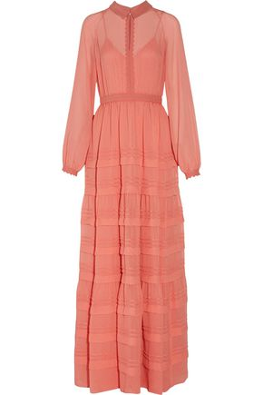 ROKSANDA Katana tiered checked georgette gown