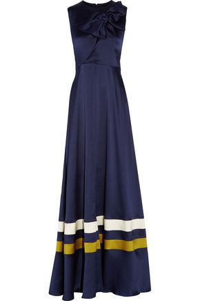 ROKSANDA Devey bow-embellished textured silk-satin gown