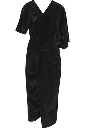 JIL SANDER Asymmetric draped shell midi dress