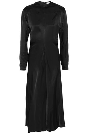 JIL SANDER Satin cotton-blend midi dress