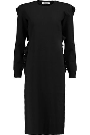 JIL SANDER Ruffled stretch-knit and satin midi dress