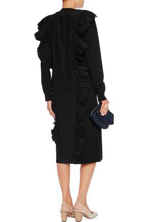 JIL SANDER Ruffled stretch-knit and satin midi dress