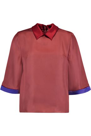 ROKSANDA Tri-color silk-twill top