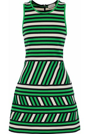 LANVIN Striped intarsia-knit cotton-blend mini dress
