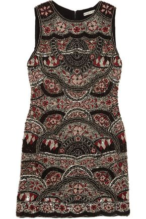 ALICE + OLIVIA Sherley embellished silk-chiffon mini dress
