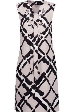 DEREK LAM Lace-up printed silk-cady mini dress