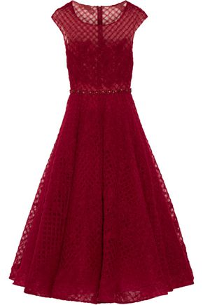 MARCHESA NOTTE Pleated embellished tulle gown