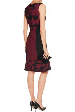 OSCAR DE LA RENTA Printed stretch wool-blend dress