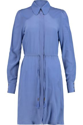 JUST CAVALLI Twill-paneled washed-silk shirt dress