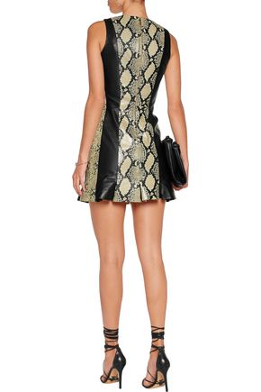 JUST CAVALLI Paneled snake-effect leather mini dress