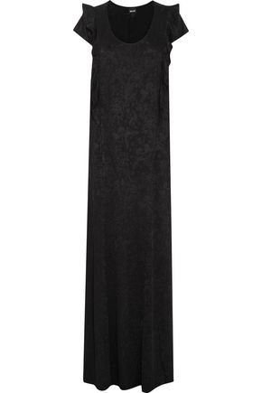 JUST CAVALLI Ruffle-trimmed intarsia-knit maxi dress