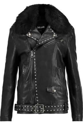 JUST CAVALLI Studded leather biker jacket