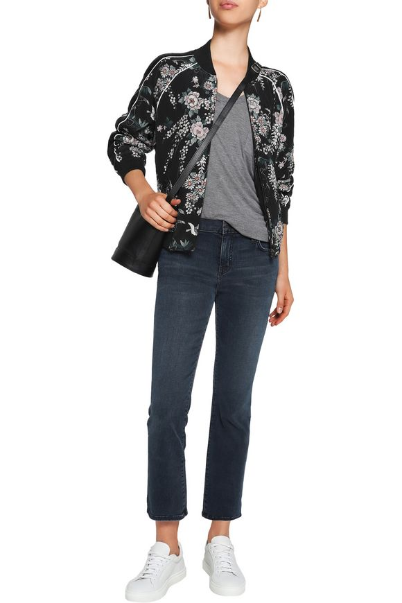 4ff4f6de4be Mace quilted floral-print silk bomber jacket | JOIE | Sale up to 70 ...