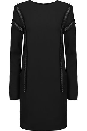 BELSTAFF Hailey leather-trimmed frayed crepe mini dress