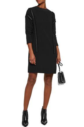 BELSTAFF Hailey leather-trimmed frayed crepe mini dress