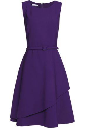 OSCAR DE LA RENTA Wrap-effect belted wool-blend mini dress