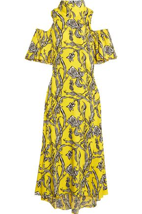 ELLERY Deity cold-shoulder printed silk-blend maxi dress