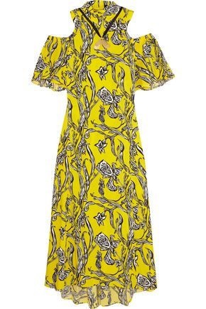 •ELLERY• Cold-shoulder printed silk-blend maxi dress