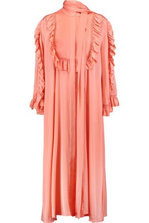 ELLERY Olga ruffle-trimmed silk-blend midi dress