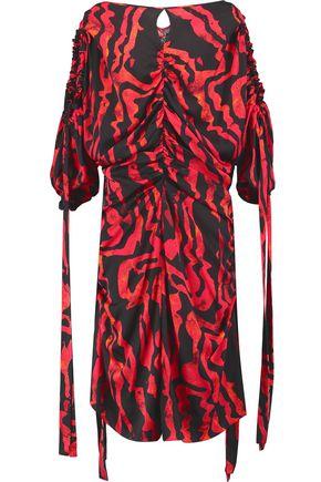 ELLERY Kabukimono cold-shoulder ruched printed silk-blend midi dress