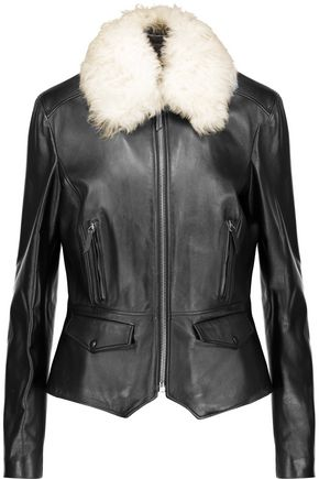 BELSTAFF Roxie shearling-trimmed leather jacket