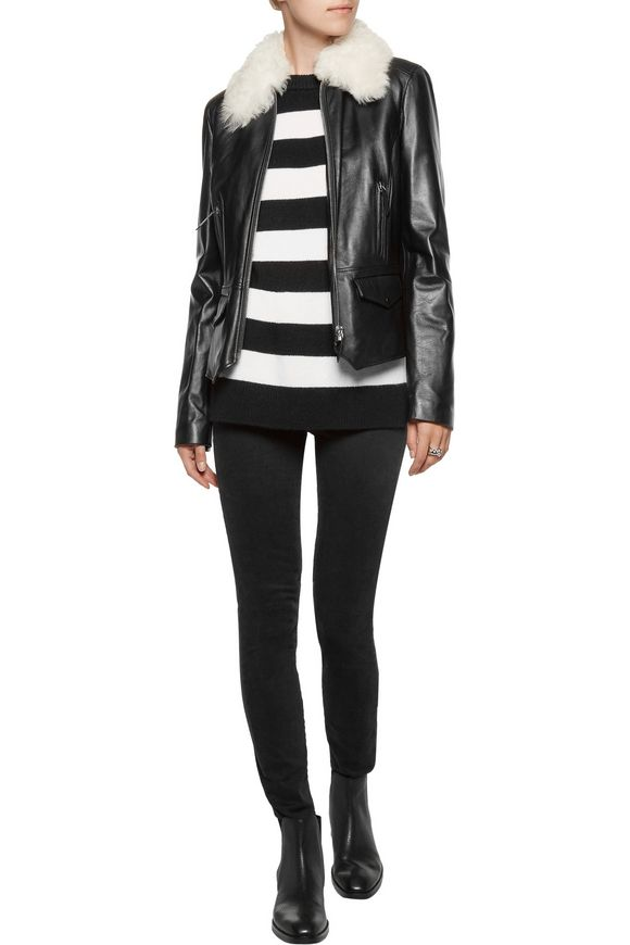 Roxie shearling-trimmed leather jacket | BELSTAFF | Sale up to 70% off |  THE OUTNET