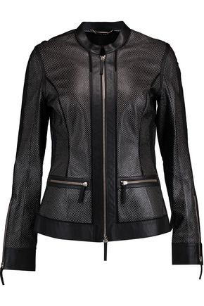 ROBERTO CAVALLI Metallic perforated leather jacket