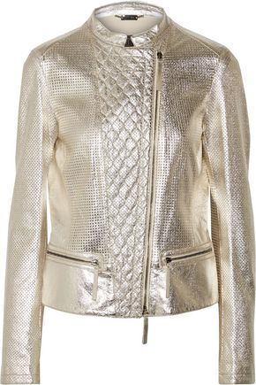 ROBERTO CAVALLI Metallic paneled laser-cut, quilted and cracked-leather jacket